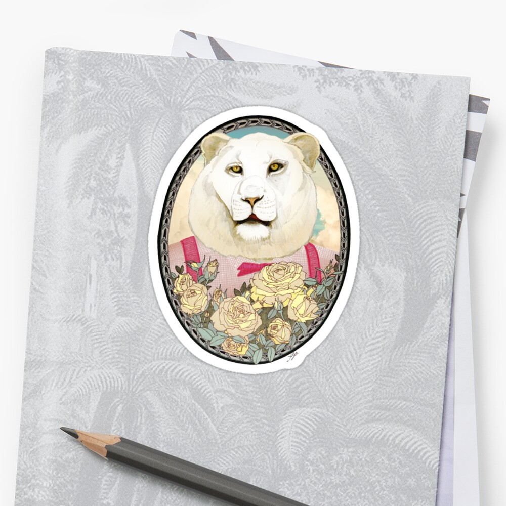 Lion and Roses by Yuliya Art