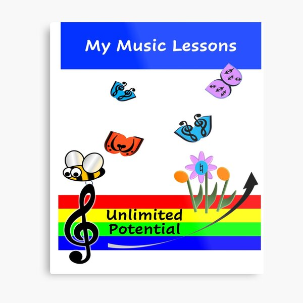 My Music Lessons Journal-Bee Metal Print
