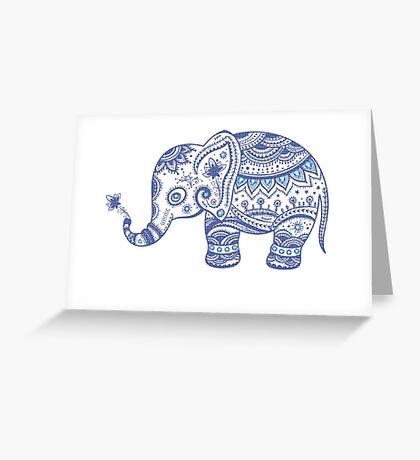 Cute Navy Blue Retro Floral Elephant Greeting Card
