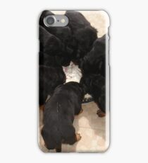 Nine Rottweiler Puppies Eating From One Food Bowl iPhone Case/Skin