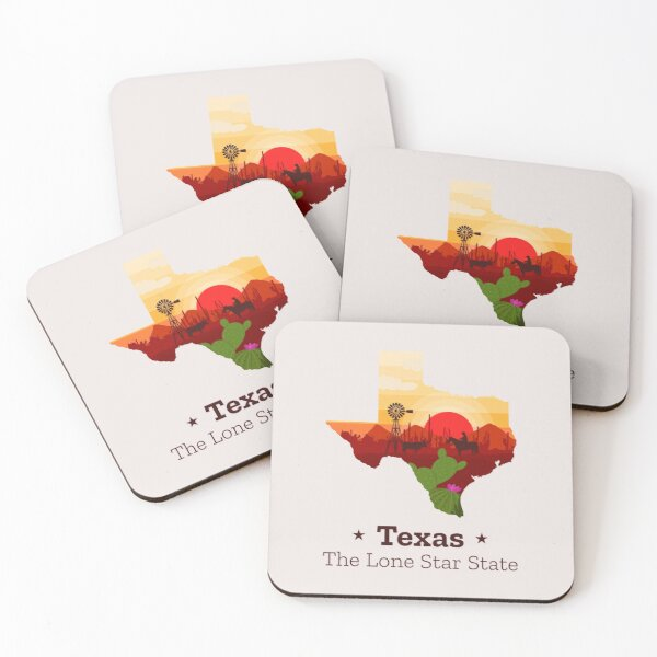 Texas the lone star state Coasters (Set of 4)