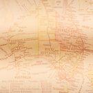 Vintage Map of Australia Copper by Melissa Park