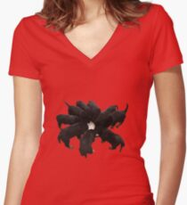 Nine Rottweiler Puppies Eating Vector Women's Fitted V-Neck T-Shirt