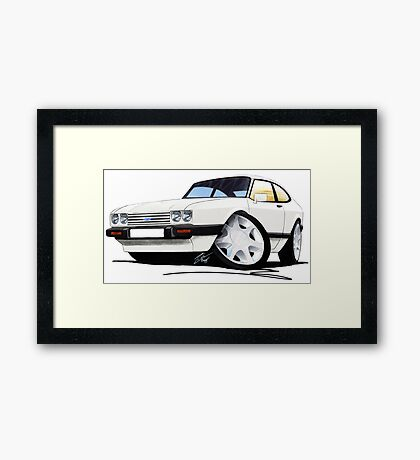 Ford Capri (Mk3) White Framed Print