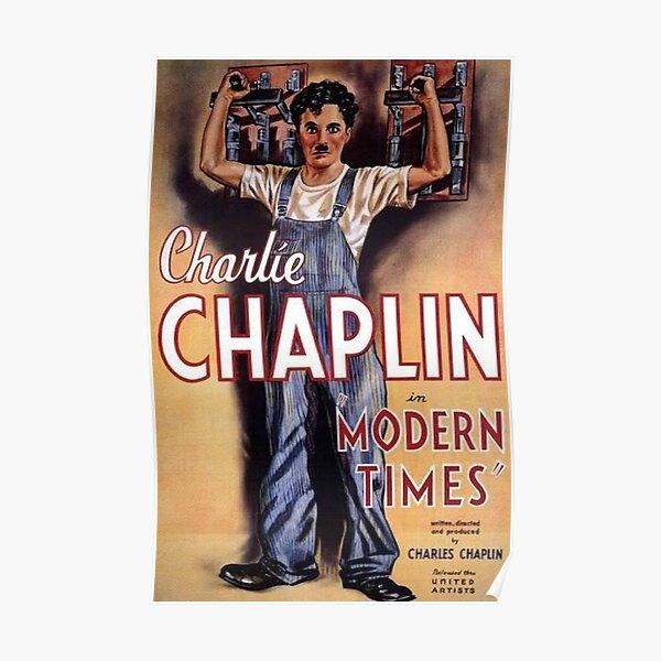 Charlie Chaplin. Tiempos modernos, póster de película. Póster