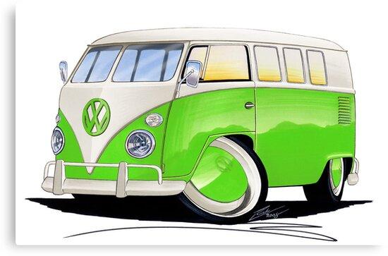 VW Splitty (11 Window) Lime Green by yeomanscarart