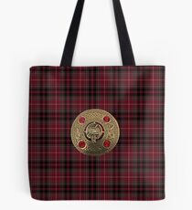 Fiery Cross Inspired Plaid with Frasier Clan Broach Tote Bag