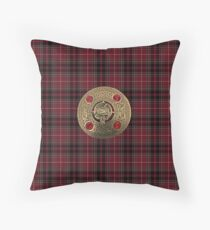 Fiery Cross Inspired Plaid with Frasier Clan Broach Throw Pillow