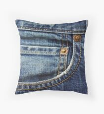 blue jean pocket Throw Pillow