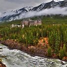 Banff Springs Hotel and the Bow River by James Anderson