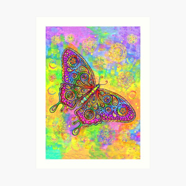 Colorful Psychedelic Rainbow Paisley Bohemian Butterfly Art Print