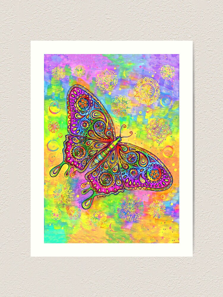 Alternate view of Colorful Psychedelic Rainbow Paisley Bohemian Butterfly Art Print