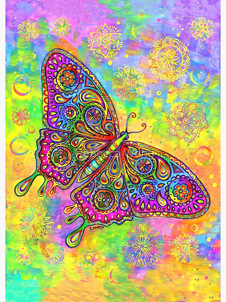 Colorful Psychedelic Rainbow Paisley Bohemian Butterfly by lioncrusher