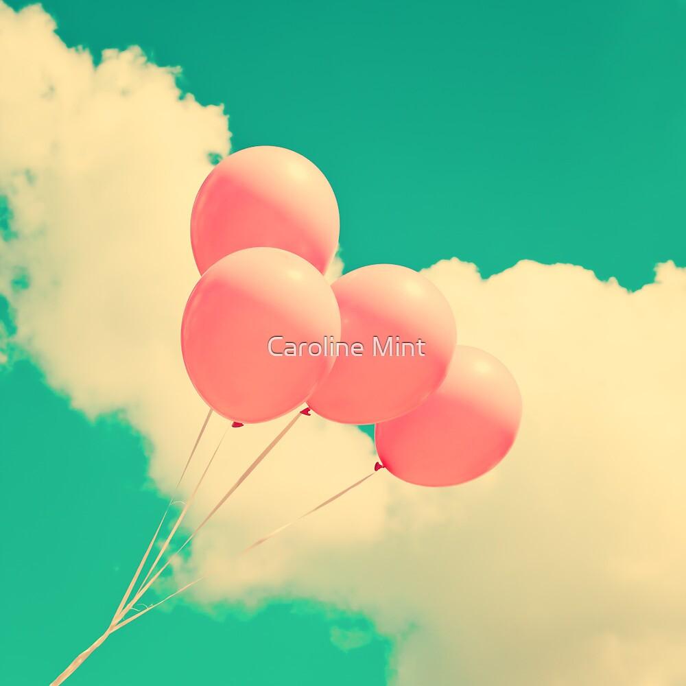 Happy Pink Balloons on retro blue sky  by Caroline Mint