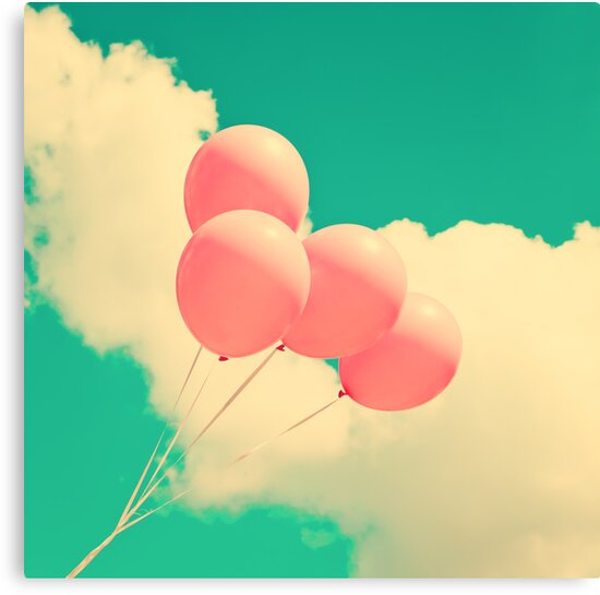 Happy Pink Balloons on retro blue sky  by Caroline Mint