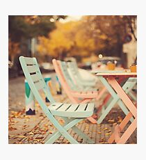 Dream Autumn (Pink and blue coffee shop chairs on retro and vintage fall) Photographic Print