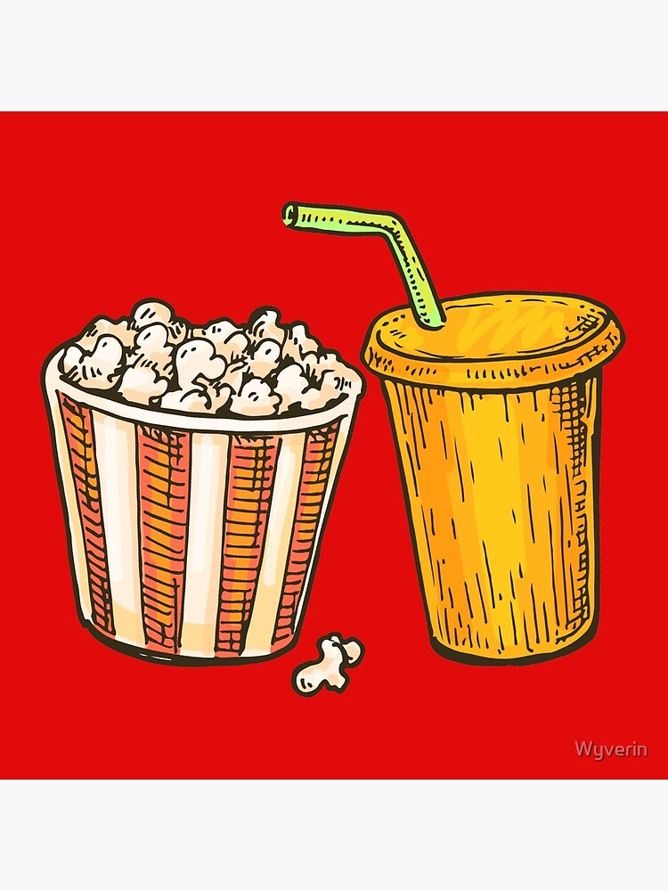 Cinema Popcorn And Soda Drawing Illustration Art Board Print By Wyverin Redbubble