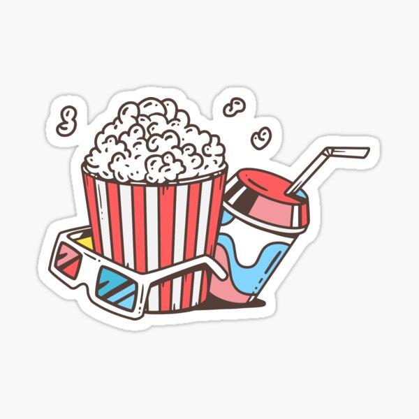 Popcorn, Soda and 3D Glasses - Film Lovers Sticker