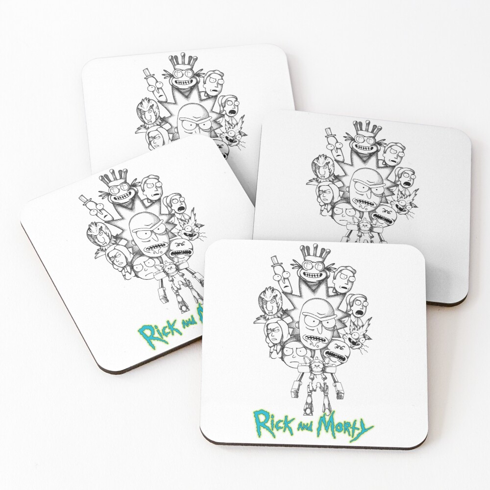 Rick and Morty B&W Fan Art Collage Coasters (Set of 4)
