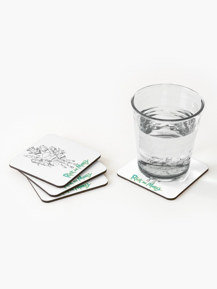 Alternate view of Rick and Morty B&W Fan Art Collage Coasters (Set of 4)