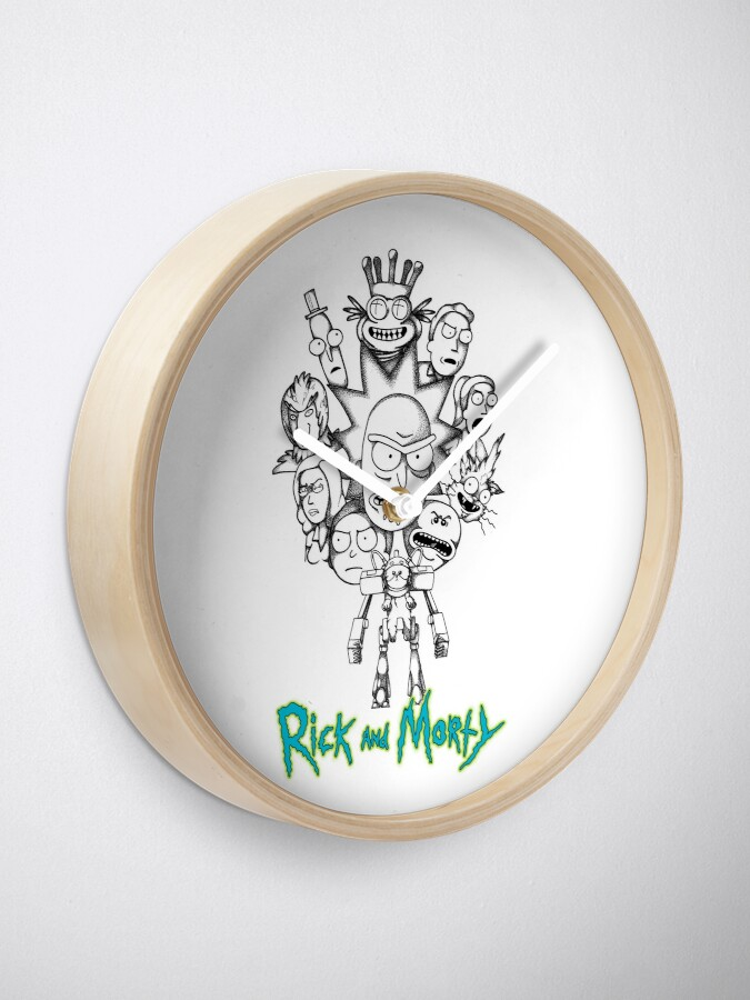 Alternate view of Rick and Morty B&W Fan Art Collage Clock
