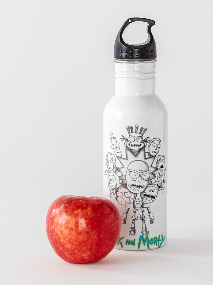 Alternate view of Rick and Morty B&W Fan Art Collage Water Bottle