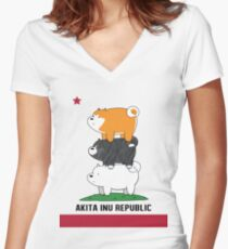 Akita Inu Republic Women's Fitted V-Neck T-Shirt