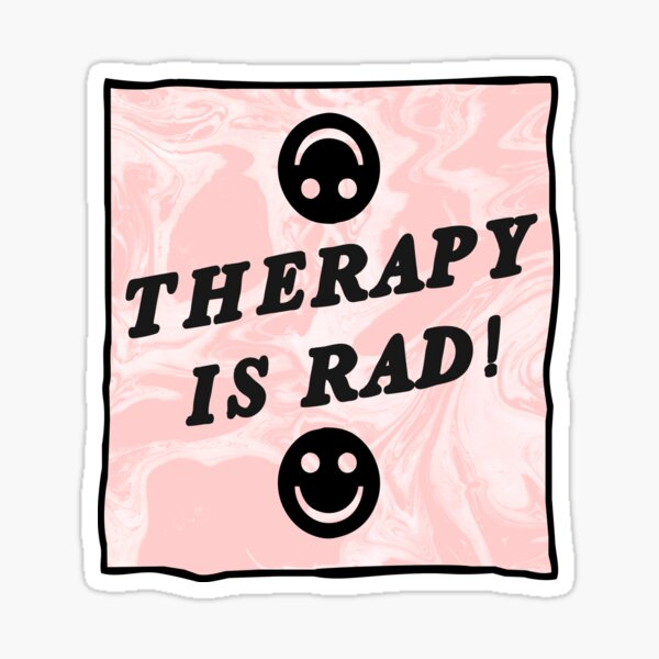 therapy is rad | pink | mental health / self care Sticker