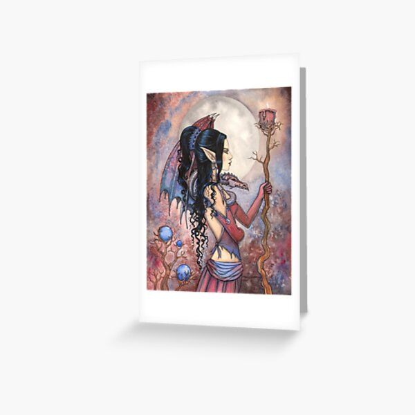 Dragon Girl Gothic Fantasy Art by Molly Harrison Greeting Card