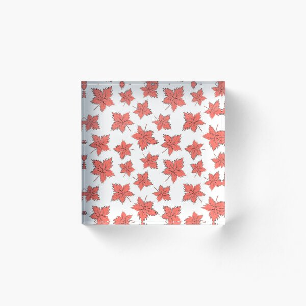 Maple leaves red Acrylic Block