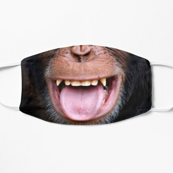 Laughing chimpanzee face Flat Mask