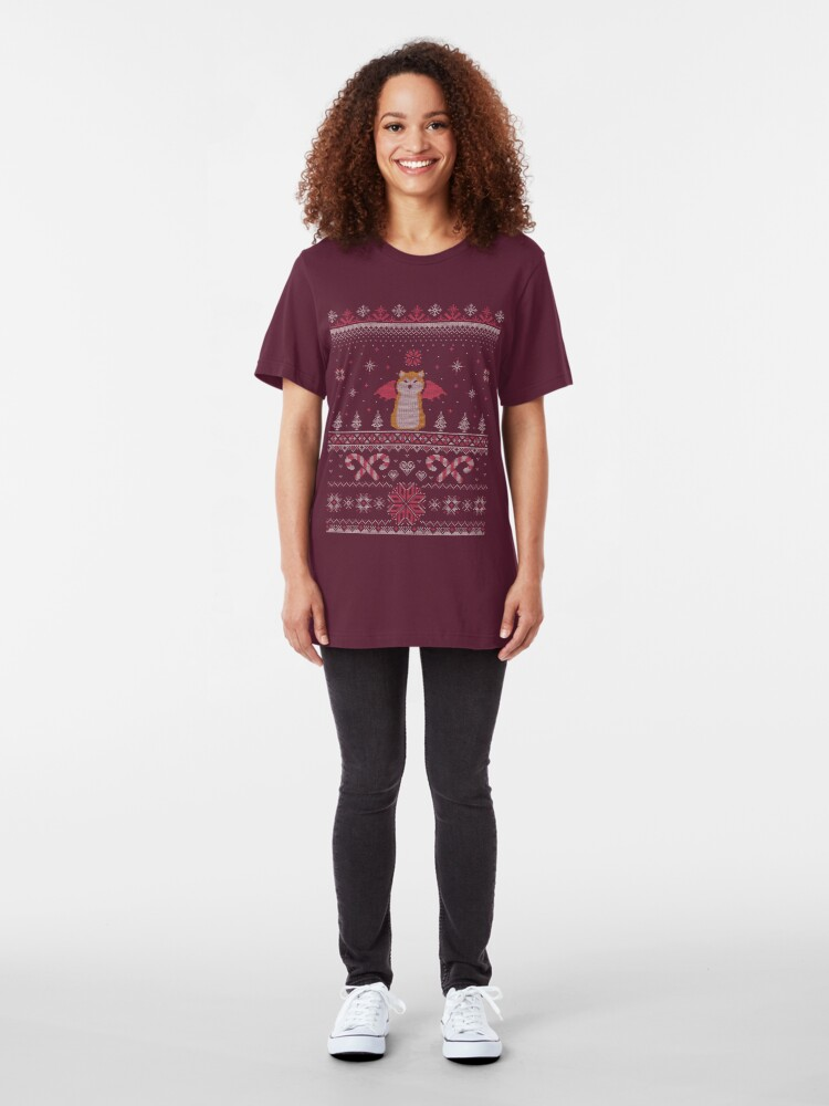 Alternate view of Ugly Holiday Sweater (Pink) Slim Fit T-Shirt