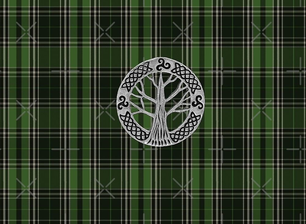 Voyager Inspired Plaid w Silver Tree Broach by Loverdove