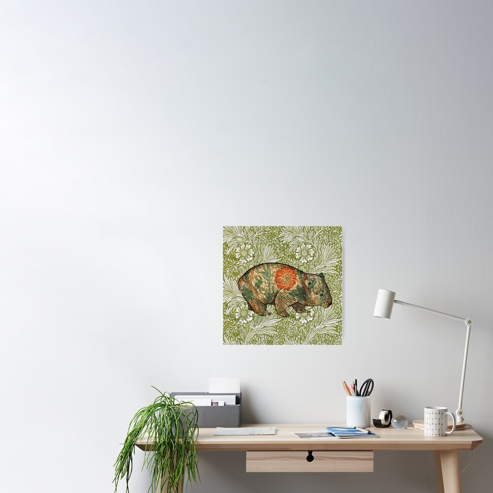 Rossetti's Wombat in Green Marigold Poster