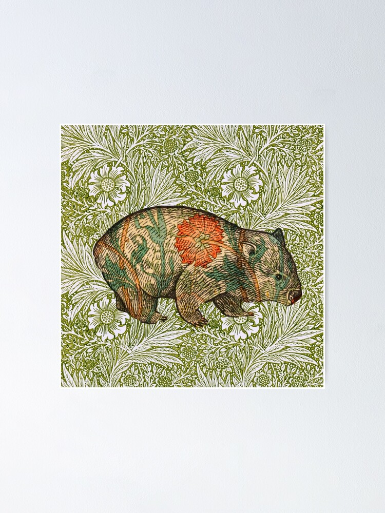 Alternate view of Rossetti's Wombat in Green Marigold Poster