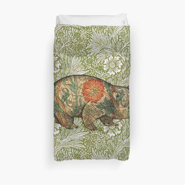 Rossetti's Wombat in Green Marigold Duvet Cover