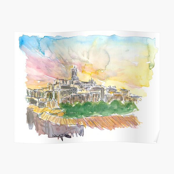 Impressive Siena Skyline From Glorious Past  Poster