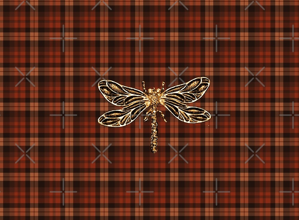 Dragonfly In Amber Inspired Plaid w. Dragonfly by Loverdove