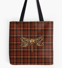 Dragonfly In Amber Inspired Plaid w. Dragonfly Tote Bag