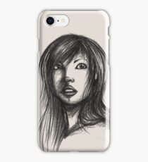 Beautiful Woman Artist Pencil Sketch 2 iPhone Case/Skin