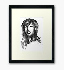 Beautiful Woman Artist Pencil Sketch 2 Framed Print