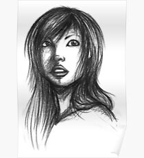 Beautiful Woman Artist Pencil Sketch 2 Poster