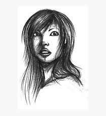 Beautiful Woman Artist Pencil Sketch 2 Photographic Print