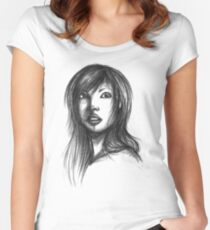 Beautiful Woman Artist Pencil Sketch 2 Women's Fitted Scoop T-Shirt