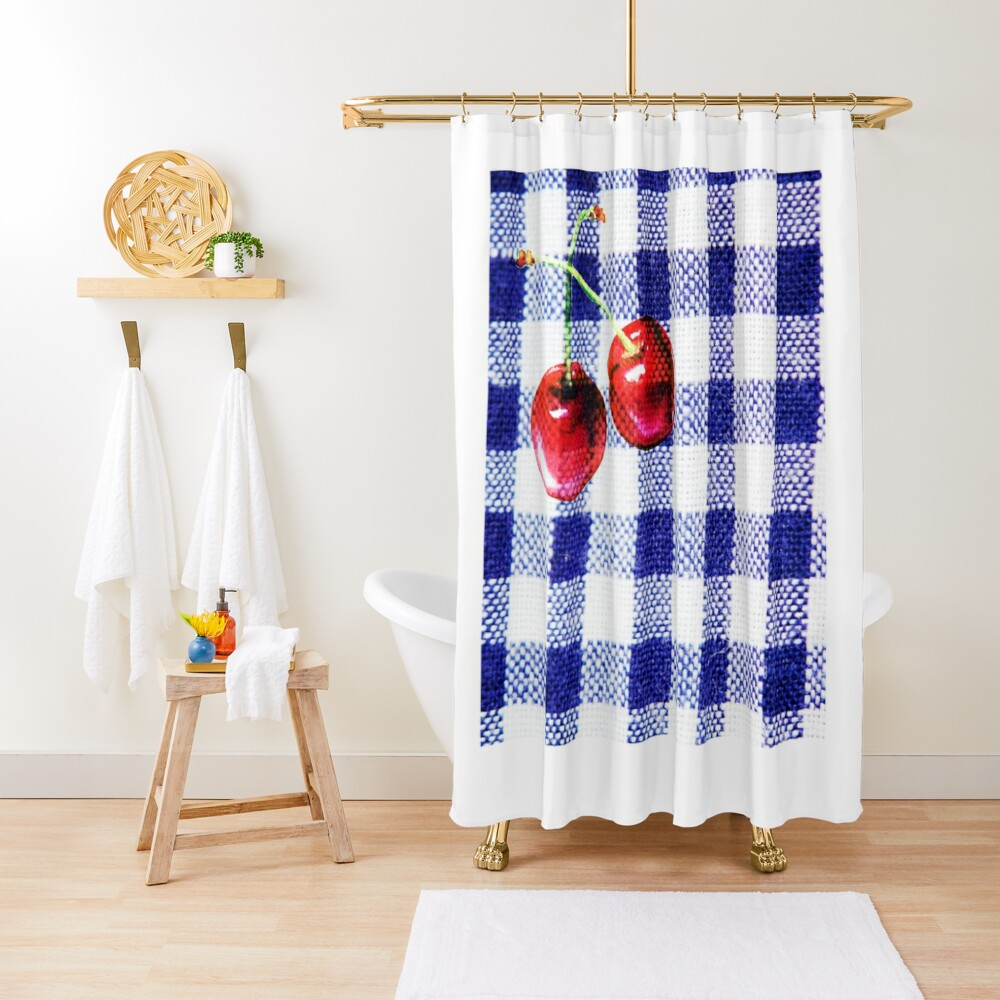 Cherries and Gingham Shower Curtain
