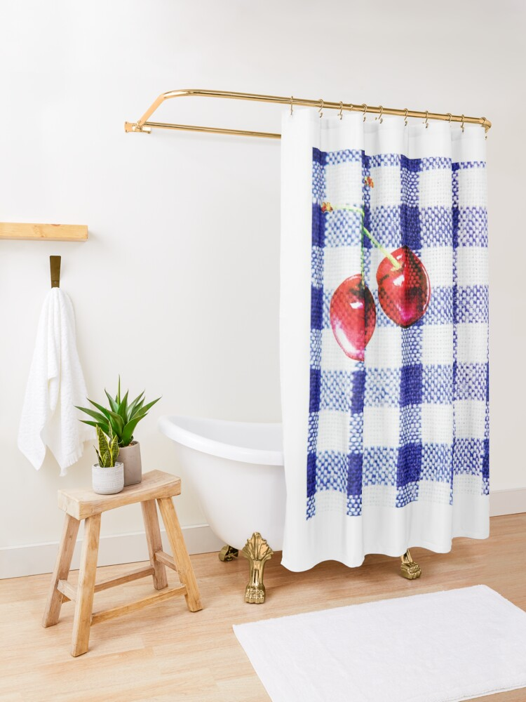 Alternate view of Cherries and Gingham Shower Curtain