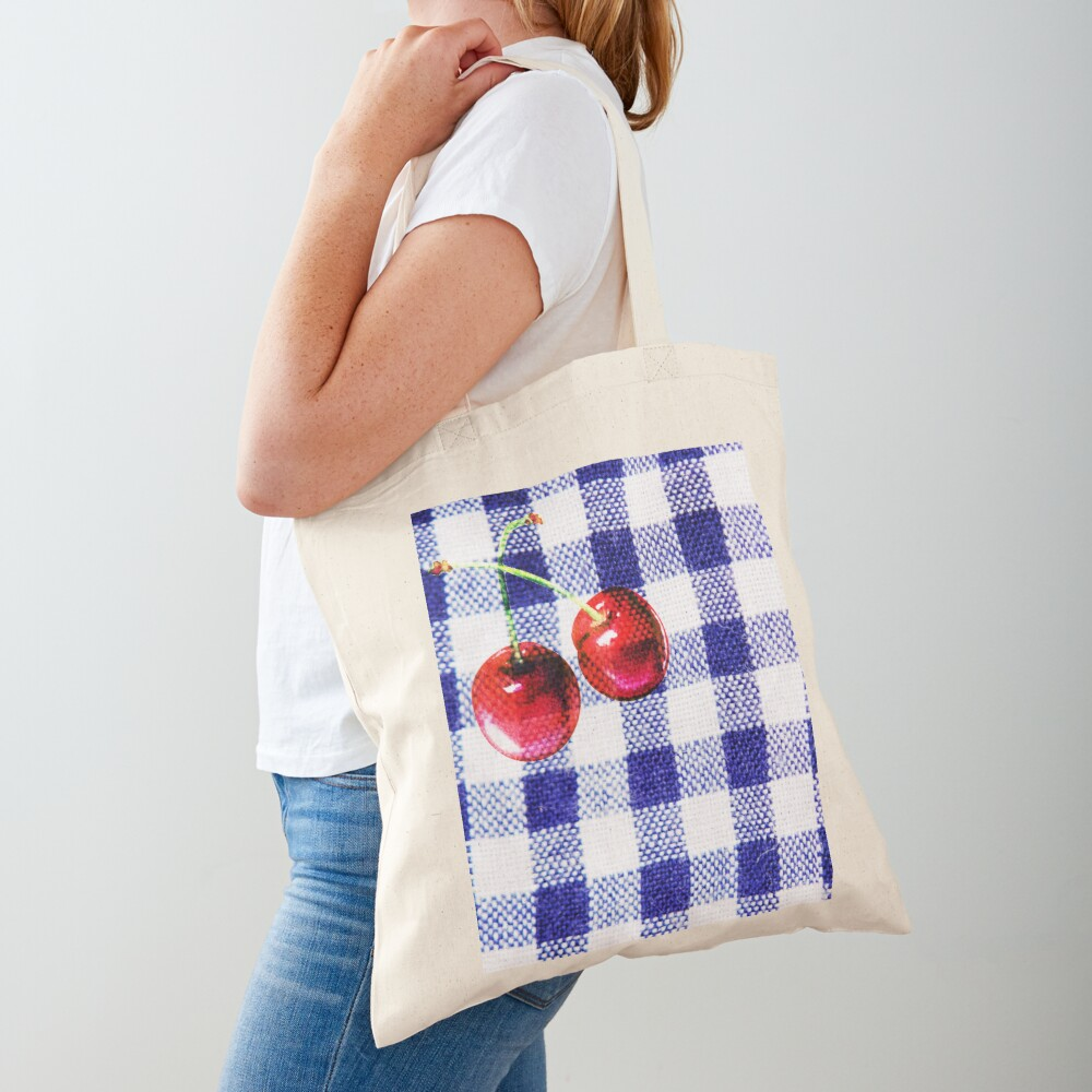 Cherries and Gingham Tote Bag