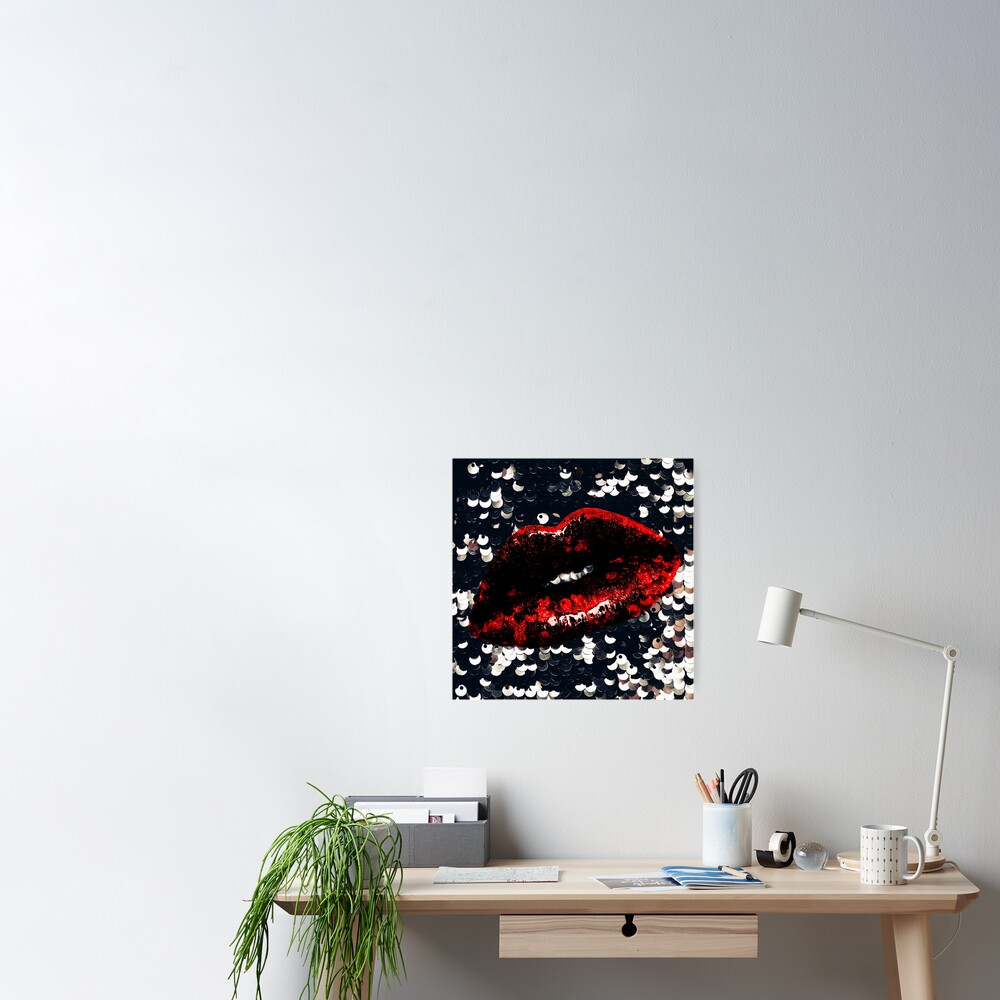 Red Lips and Sequins Poster