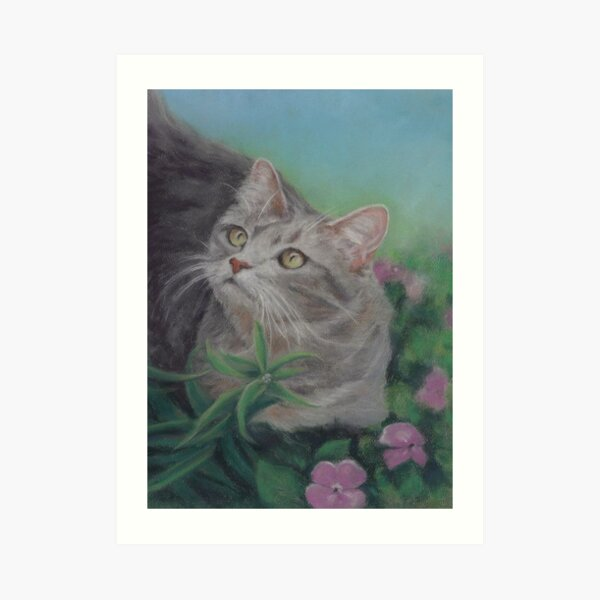 Gray Cat in a Flower Bed Art Print