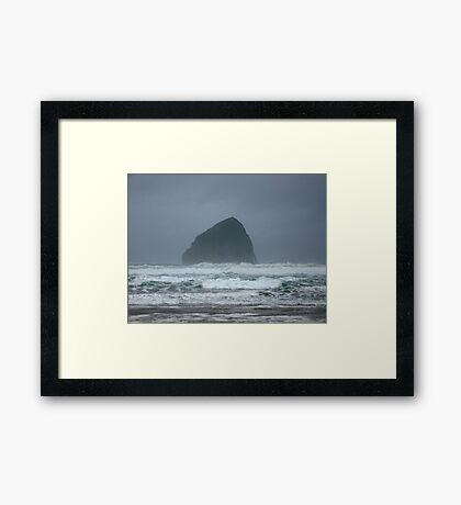 Stormy Seas at Haystack Rock Framed Print